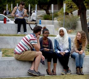 Two of my teammates reaching out to two Muslim girls on the campus of UNLV.